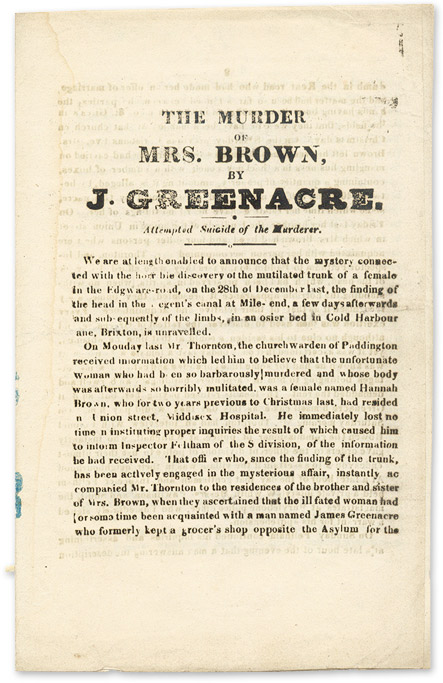 The Murder of Mrs. Brown, by J. Greenacre, Attempted Suicide of the. Murder, James Greenacre, Sarah Gale.