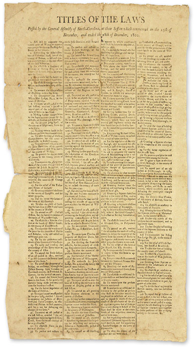Titles of the Laws Passed by the General Assembly of North-Carolina. Broadside, North Carolina.