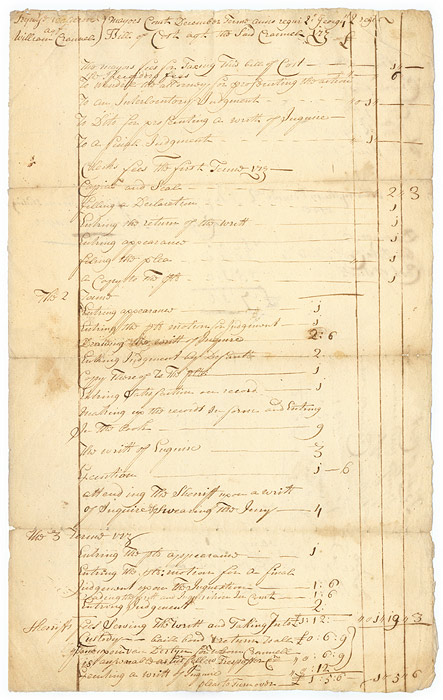 Bill for Court Fees, Signed, Albany, NY, January 9, 1728. Manuscript, Rutger Bleecker.
