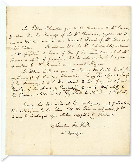 Autograph Letter (in Third Person) to George Steevens, 1779. Manuscript, Sir William Blackstone, G. Steevens.