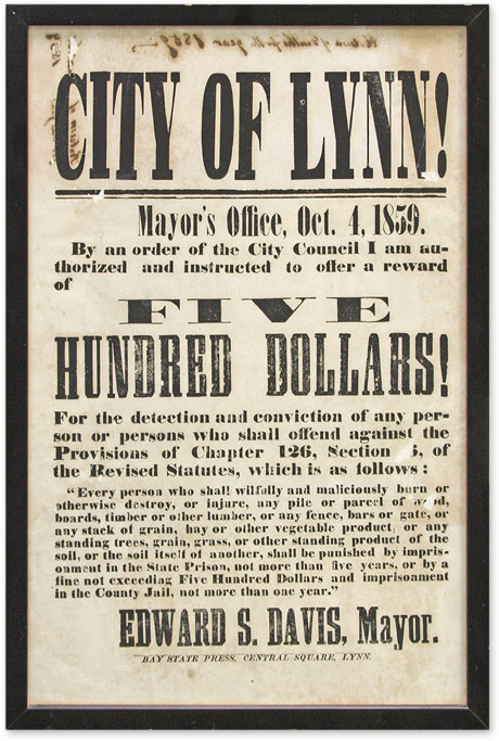 City of Lynn! Mayor's Office, Oct 4, 1859, By an Order of the City. Broadside, Massachusetts, Edward S. Davis.