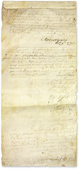 Signed Oath of Office as Chief Justice of the State of New York, 1790. Manuscript, Robert Yates.