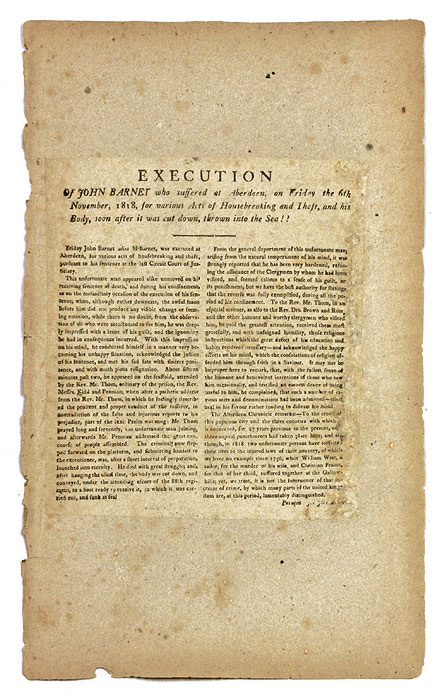 Execution of John Barnet Who Suffered at Aberdeen on Friday the 6th. Broadside, Execution, John Barnet.