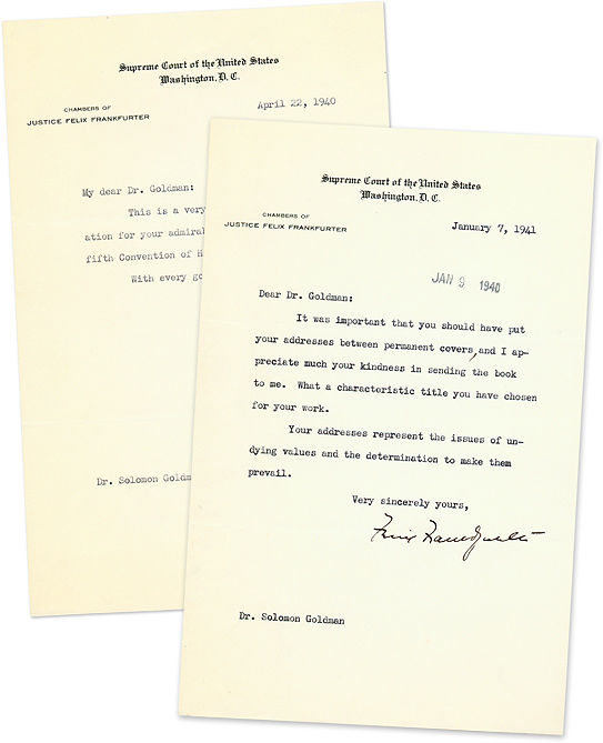 Two Typed Letters, Signed, On U.S. Supreme Court Letterhead, 1940-41. Manuscript, Felix Frankfurter, Soloman Goldman.