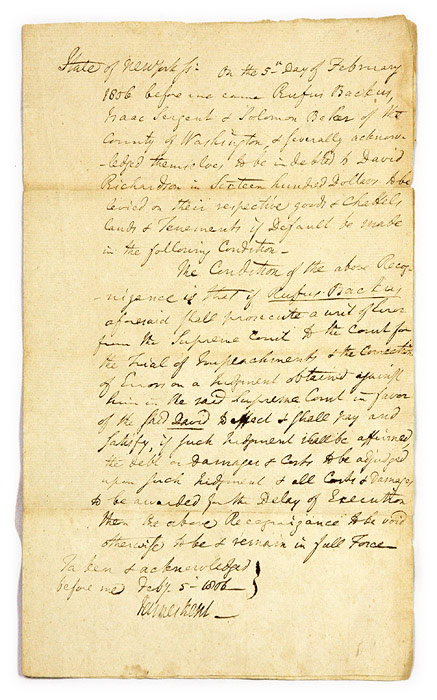 Court Document in Kent's Hand, Signed by Kent, February 5, 1806. Manuscript, James Kent.