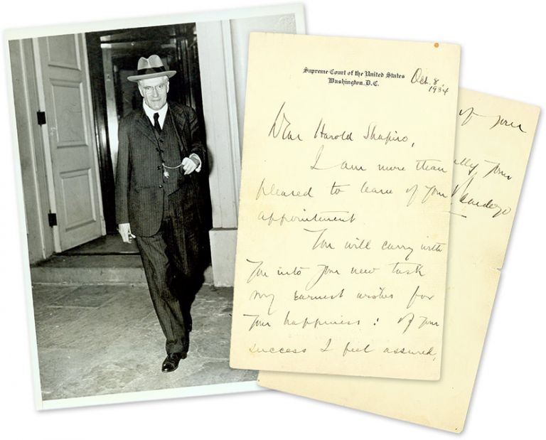 """Autograph Letter, Signed [with] 6"""" x 8"""" Black-and-White Photograph. Manuscript, Benjamin N. Cardozo, Harold Shapiro."""