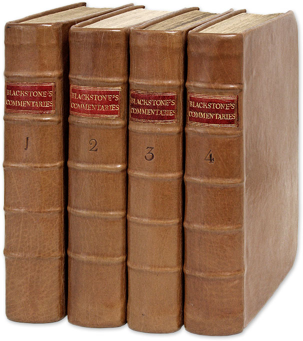 Commentaries on the Laws of England  Re-Printed From the British Copy by  William Blackstone, Robert Bell on The Lawbook Exchange, Ltd