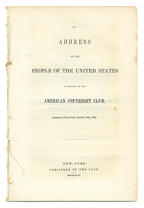 An Address to the People of the United States in Behalf of the. American Copyright Club.