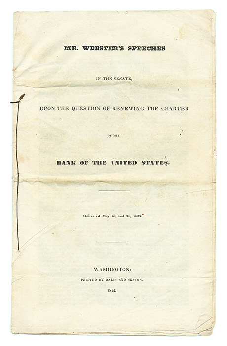 Mr. Webster's Speeches in the Senate, Upon the Question of Renewing. Daniel Webster.