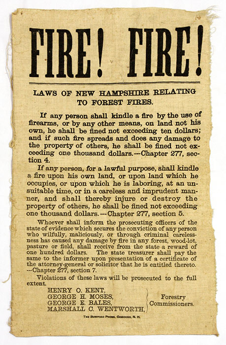 Fire! Fire! Laws of New Hampshire Relating to Forest Fires. Broadside, Forest Law, New Hampshire.