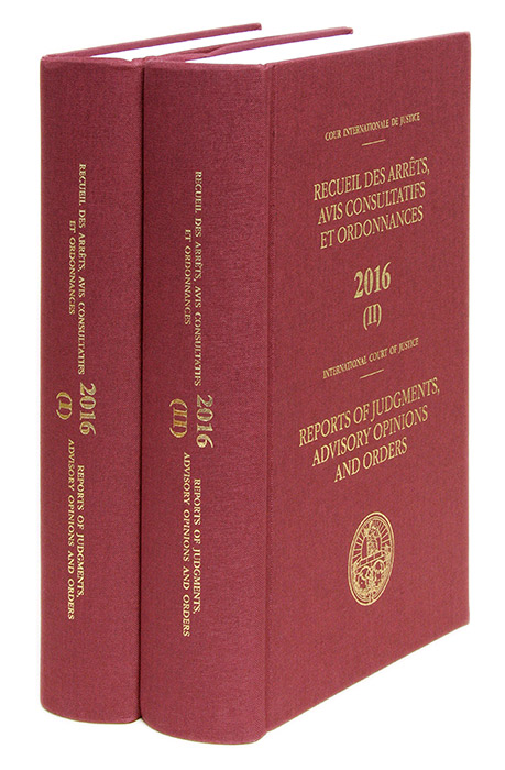 Reports of Judgments, Advisory Opinions and Orders. 2016 (2 books). International Court of Justice. United Nations.