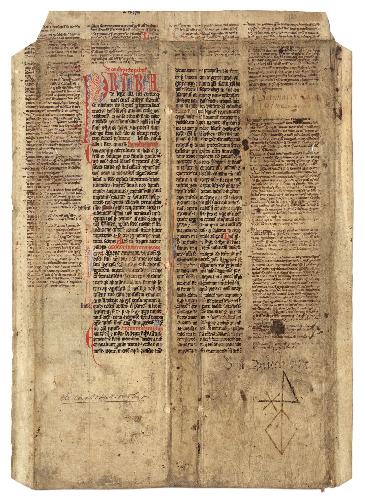 Leaf from a Papal Decretal Concerning Prescription of Ecclesiastical. Manuscript, Canon Law, Pope Clement III.