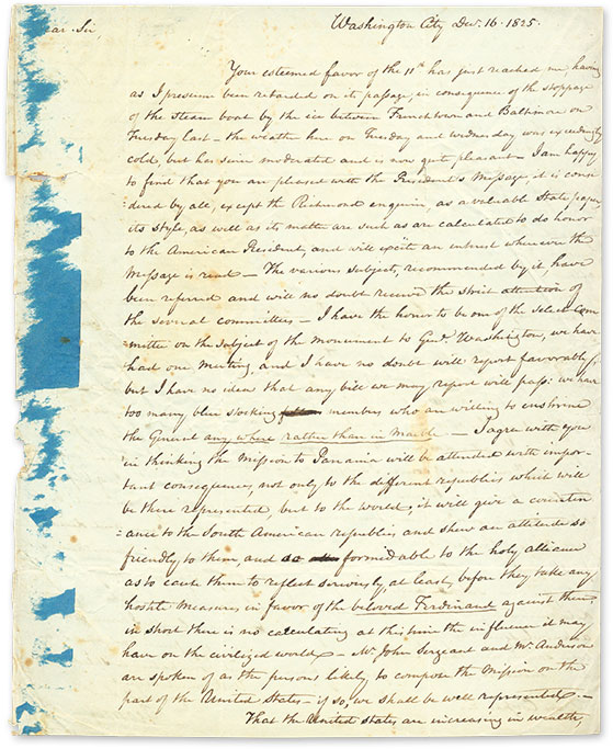 Autograph Letter, Signed, Washington, DC, December 16, 1825. Manuscript, George Wolf.