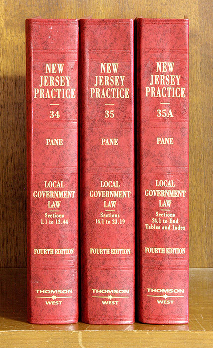 Local Government Law, 4th ed. 3 Vols. with June 2017 supplements. New Jersey Prac Vols, A.