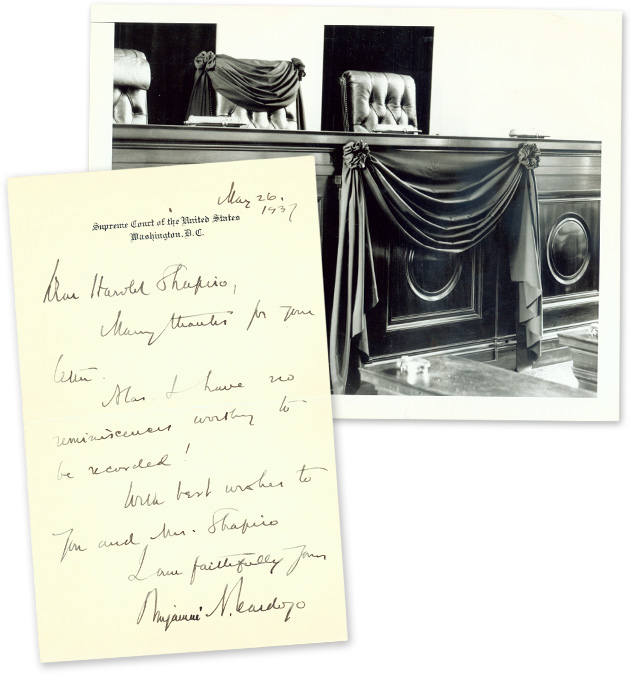"""Autograph Letter, Signed [with] 6-1/2"""" x 8-1/2"""" Photograph. Manuscript, Benjamin N. Cardozo."""