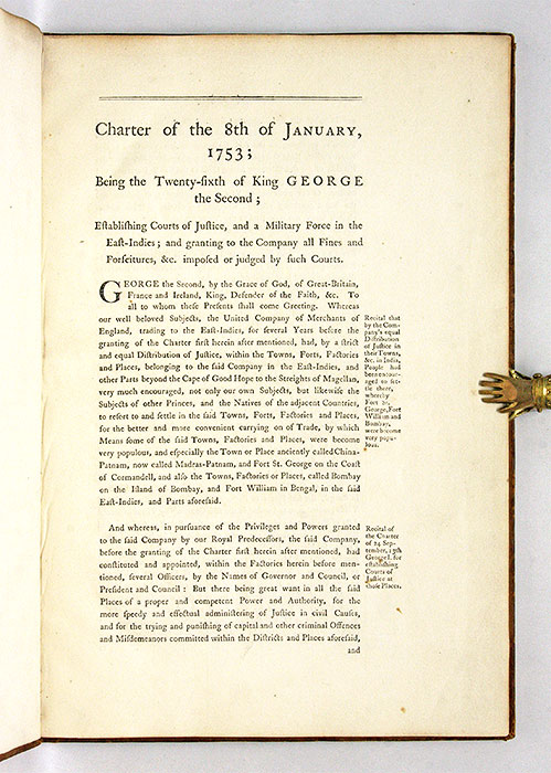 Charter of the 8th of January, 1753; Being the Twenty-Sixth of King. British East India Company.