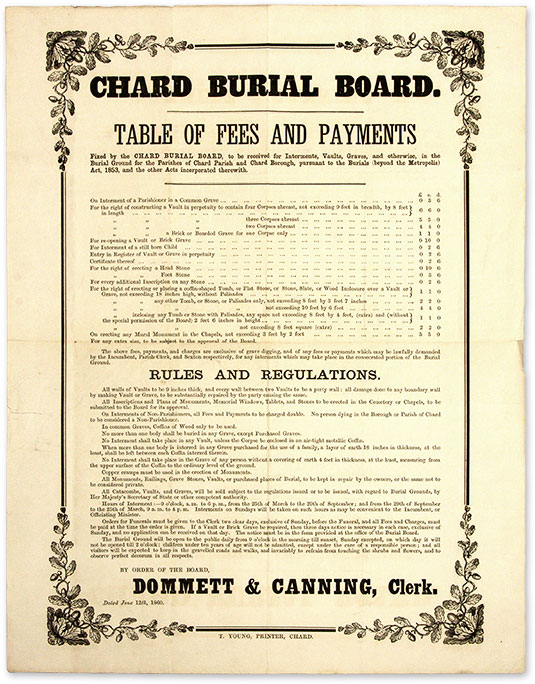 Table of Fees and Payments Fixed by the Chard Burial Board, To be. Broadside, Funerals, Chard Burial.