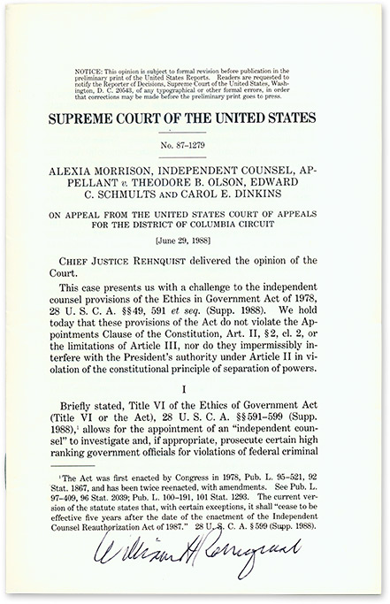 Alexia Morison, Independent Counsel, Appellant v. Theodore B. Olson. Supreme Court of the United States, W. Rehnquist.