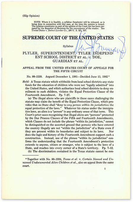 Plyler, Superintendent, Tyler Independent School... v. Doe, Guardian. Supreme Court of the United States, W. Brennan.