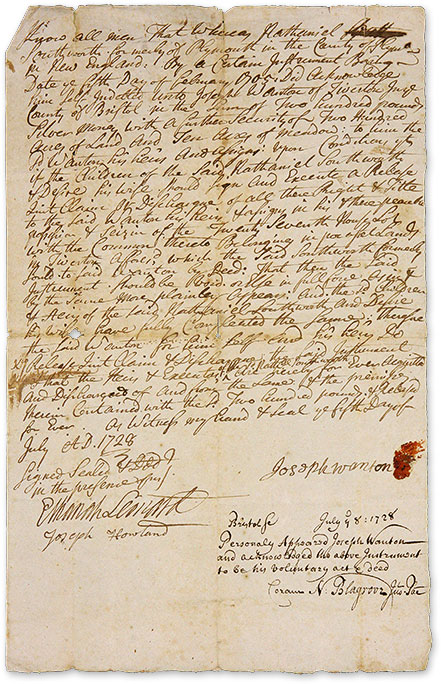 Autograph Legal Document, Signed, Bristol, Rhode Island, July 5, 1728. Manuscript, Joseph Wanton.