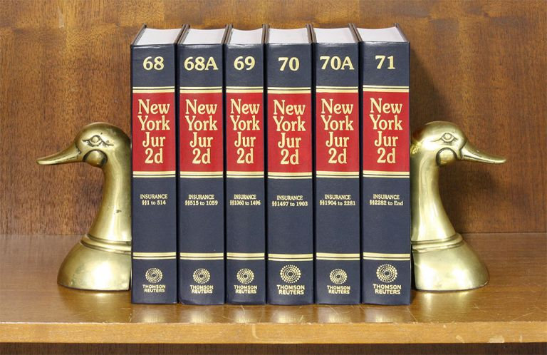 New York Jurisprudence 2d. Insurance. 6 books. Vols. 68 to 71. 2018. Thomson Reuters.