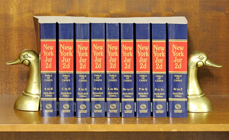 New York Jurisprudence 2d. 2018-2019 Ed. Table of Cases A-Z, 9 books. Thomson Reuters.