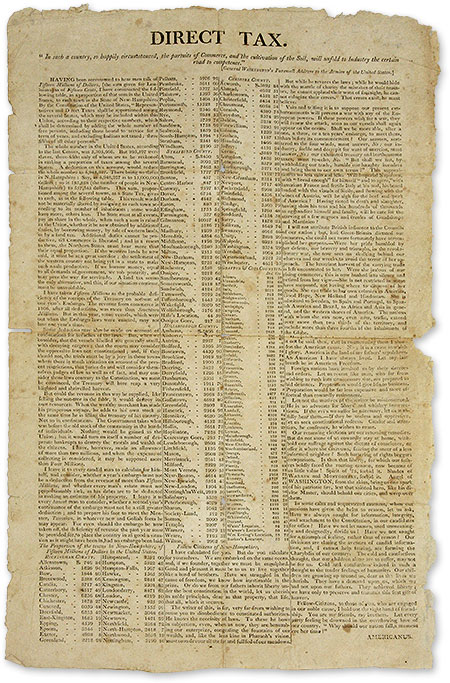 "Direct Tax, [New Hampshire: S.n, c.1807], 18"" x 11"" broadside. Broadside, Louisiana Purchase."