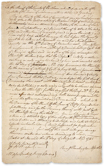 Writ from the State of Connecticut Ordering the Seizure of Goods. Manuscript, Connecticut.