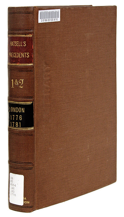 A Collection of Cases of Privilege of Parliament, From the Earliest. John Hatsell.