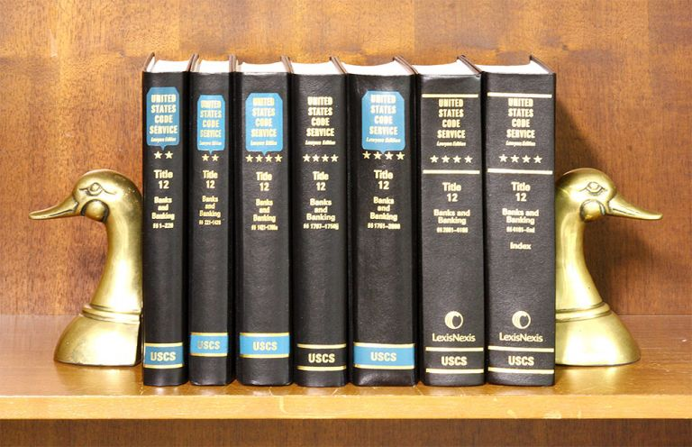 USCS Banks and Banking Set: Title 12: 1-end. 7 books with 2018 supps. LexisNexis. United States Code Service.