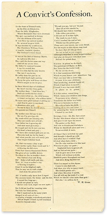 "A Convict's Confession, 12-1/4"" x 6"" broadside, Johnstown, PA, c1880. Broadside, W. H. Gork."
