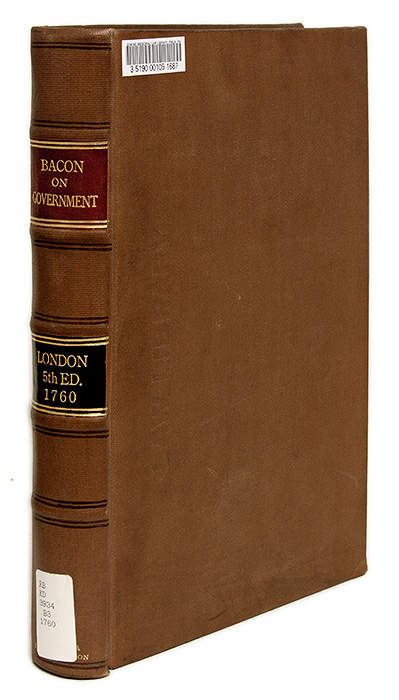 An Historican and Political Discourse of the Laws and Government. John Selden, Nathaniel Bacon.