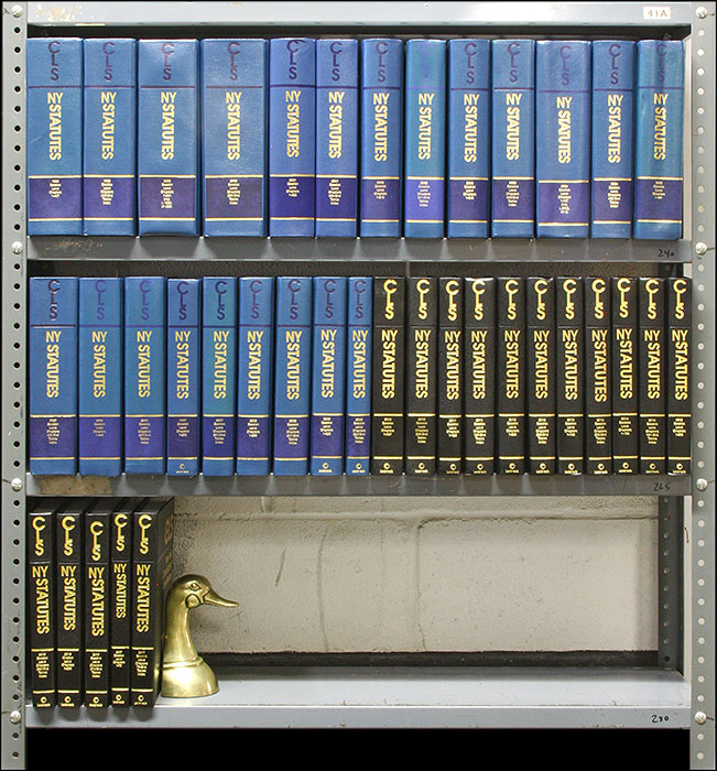 New York Consolidated Laws Service. 1999 to 2017 Session Laws. 38 Vols. LexisNexis.