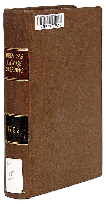 A History of the Law of Shipping and Navigation, Dublin, 1792. John Reeves.