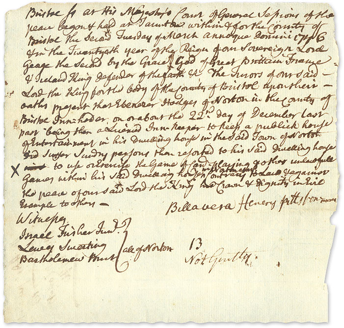 Indictment of Ebenezer Hodges for Unlawful Gaming, Billerica, 1746. Manuscript, Massachusetts.