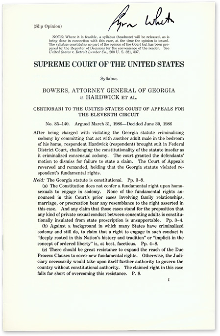 Bowers, Attorney General of Georgia v. Hardwick et Al (Slip Opinion). Supreme Court of the United States, Byron White.