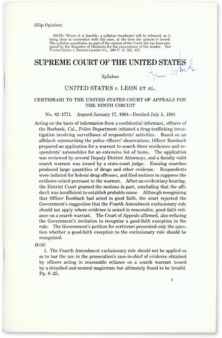 United States v Leon et Al (Slip Opinion), 1984. Supreme Court of the United States, Byron White.