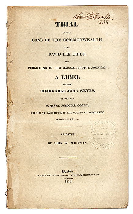 Trial of the Case of the Commonwealth Versus David Lee Child, For. Trial, David Lee Child, Defendant.