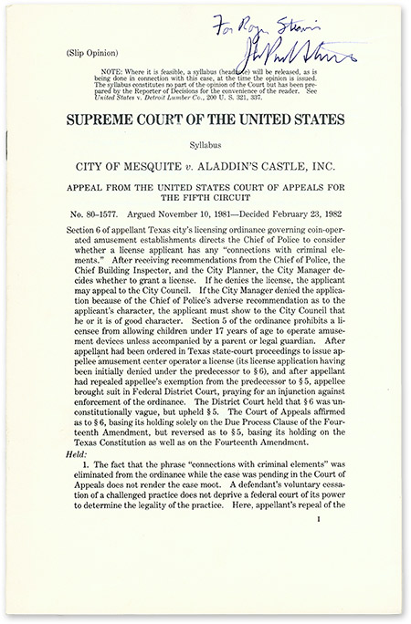 (Slip Opinion) City of Mesquite v Aladdin's Castle, Inc, Inscribed by. Supreme Court of the United States, John Stevens.