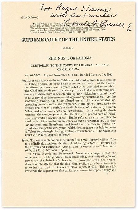 (Slip Opinion) Eddings v Oklahoma, Certiorari to the Court, Inscribed. Supreme Court of the United States, Lewis Powell.