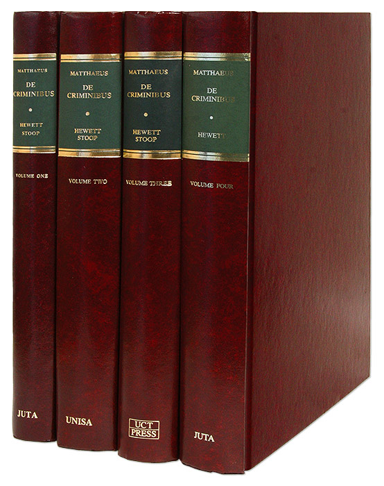 On Crimes: A Commentary on Books XLVII and XLVIII of the Digest 4 Vols. Antonius Matthaeus.