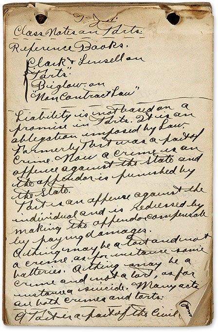 Class Notes on Torts, c.1900. Manuscript, Legal Education, United States.