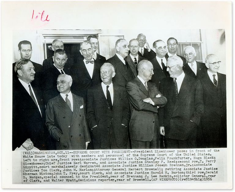 "8"" x 10"" Black-and-White Press Photograph of the Warren Court. United States Supreme Court."