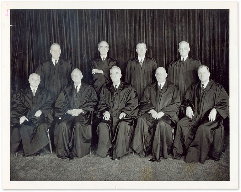 "7"" x 9"" Black-and-White Press Photograph of the Vinson Court. United States Supreme Court."