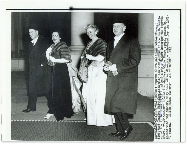 """9"""" x 7"""" Black-and-White Press Photograph of Justices Stewart and. Potter Stewart, Charles Whittaker."""
