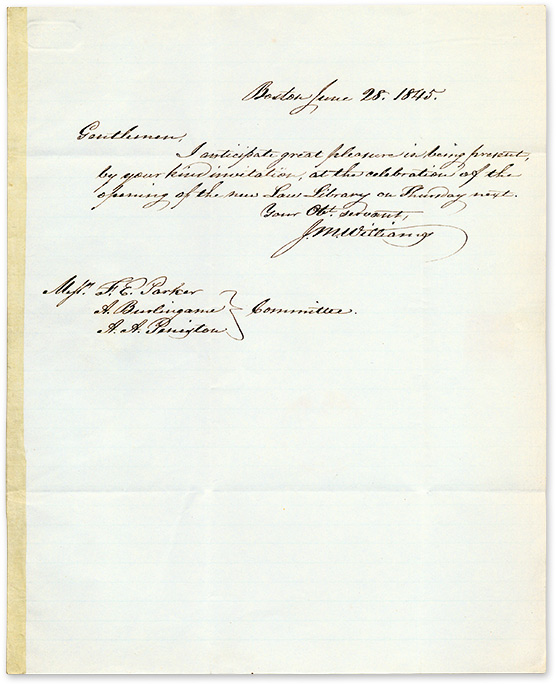 Autograph Letter Signed, by J M Williams, Accepting an Invitation. Manuscript, J. M. Williams.