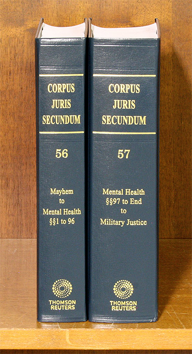 Corpus Juris Secundum. Vols. 56 & 57 Mayhem to Military Justice 2 bks. Thomson Reuters.