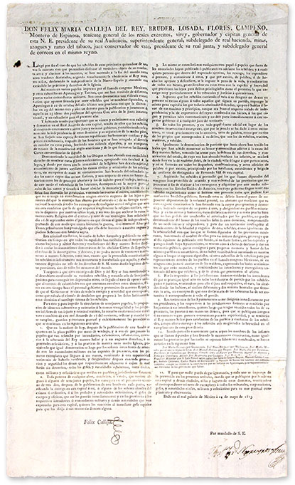 "Don Felix Maria Calleja, 28"" x 16-3/4"" Broadside, Mexico City, 1815. Broadside, Felix Maria Calleja del Rey."