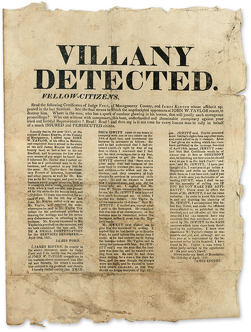 Villany Detected. Fellow-Citizens, Read the Following Certificates. Broadside, James Kinyon, James Taylor.