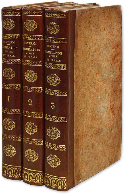 Traites de Legislation Civile et Penale, 3 Vols, 1802, First edition. Jeremy Bentham, Pierre  Dumont, tienne Louis.